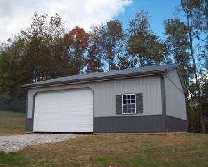 Two tone Gray pole building garage