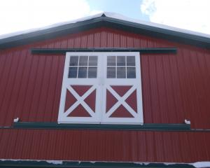 Second floor sliding doors on agricultural pole barn