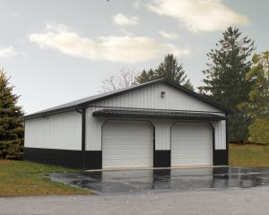 White and black two bay pole building garage with overhang