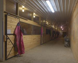 Interior view of horse pole barn