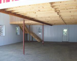 Interior of pole barn with two stories